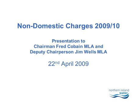1 Non-Domestic Charges 2009/10 Presentation to Chairman Fred Cobain MLA and Deputy Chairperson Jim Wells MLA 22 nd April 2009.