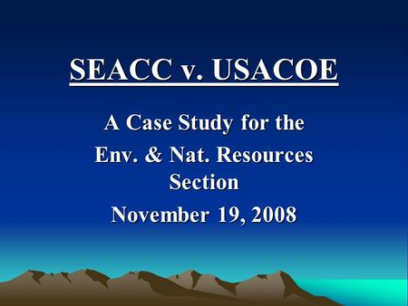 SEACC v. USACOE A Case Study for the Env. & Nat. Resources Section November 19, 2008.