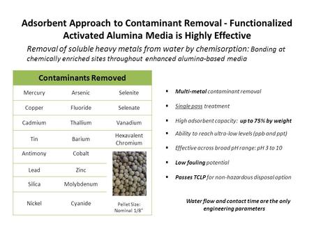 Adsorbent Approach to Contaminant Removal - Functionalized Activated Alumina Media is Highly Effective  Multi-metal contaminant removal  Single pass.