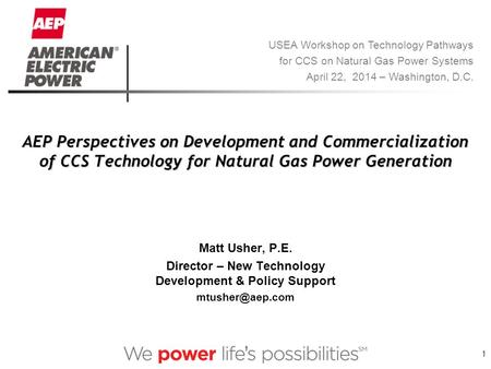 1 AEP Perspectives on Development and Commercialization of CCS Technology for Natural Gas Power Generation Matt Usher, P.E. Director – New Technology Development.