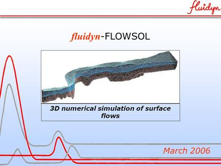 Fluidyn -FLOWSOL March 2006 3D numerical simulation of surface flows.