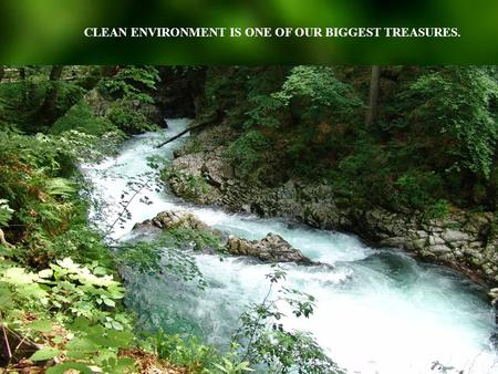 CLEAN ENVIRONMENT IS ONE OF OUR BIGGEST TREASURES.