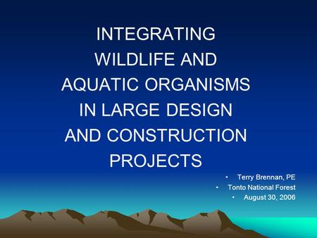 INTEGRATING WILDLIFE AND AQUATIC ORGANISMS IN LARGE DESIGN AND CONSTRUCTION PROJECTS Terry Brennan, PE Tonto National Forest August 30, 2006.
