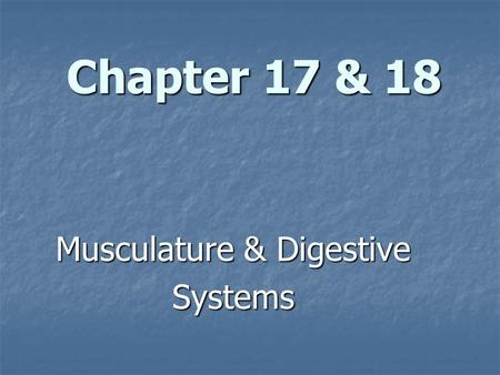 Chapter 17 & 18 Musculature & Digestive Systems. The Musculature System.