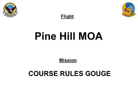Flight Mission Pine Hill MOA COURSE RULES GOUGE. FAM-08 Pine Hills MOA.