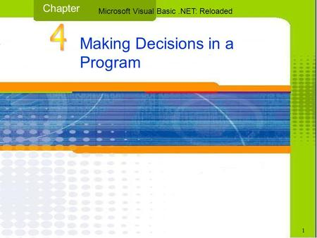 Making Decisions in a Program Chapter Microsoft Visual Basic.NET: Reloaded 1.