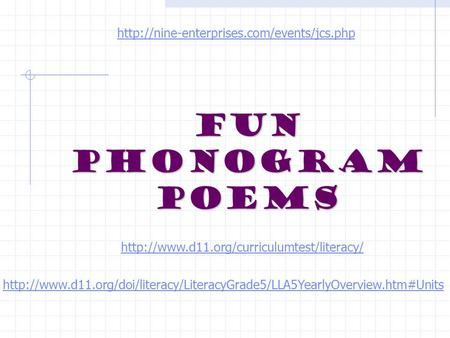 Fun Phonogram Poems
