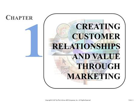 Copyright © 2007 by The McGraw-Hill Companies, Inc. All Rights Reserved. Slide 1-1 CREATING CUSTOMER RELATIONSHIPS AND VALUE THROUGH MARKETING C HAPTER.
