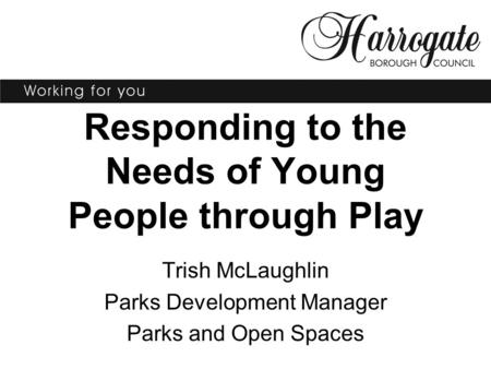 Responding to the Needs of Young People through Play Trish McLaughlin Parks Development Manager Parks and Open Spaces.