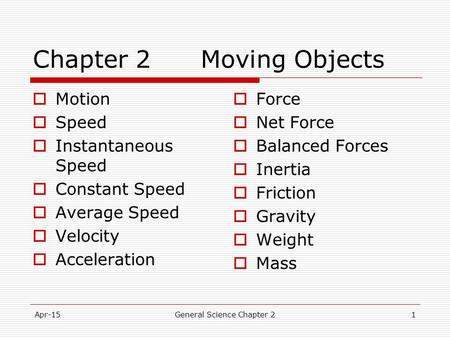 Chapter 2 Moving Objects