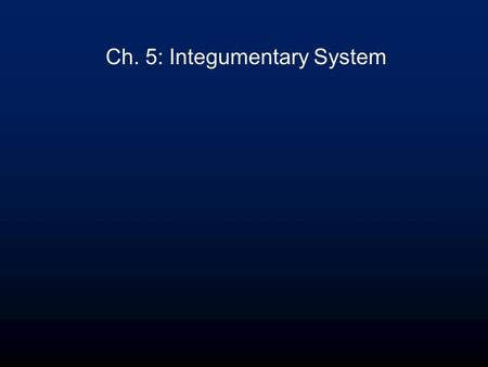 Ch. 5: Integumentary System. Integumentary System Functions Protection –chemical: acidic skin secretions, melanin, DNA –physical: keratinized cells –biological: