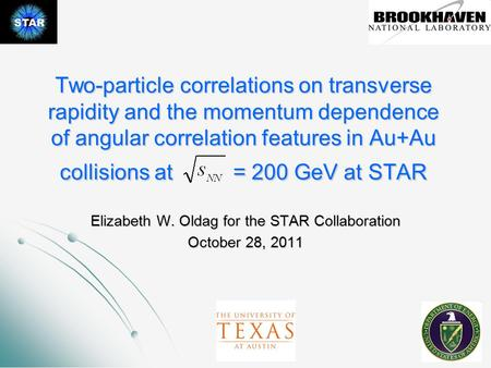 Two-particle correlations on transverse rapidity and the momentum dependence of angular correlation features in Au+Au collisions at = 200 GeV at STAR Elizabeth.