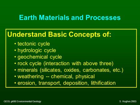 Earth Materials and Processes Understand Basic Concepts of: tectonic cycle hydrologic cycle geochemical cycle rock cycle (interaction with above three)
