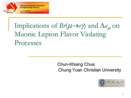 1 Implications of Br(  e  ) and  a  on Muonic Lepton Flavor Violating Processes Chun-Khiang Chua Chung Yuan Christian University.
