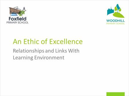 An Ethic of Excellence Relationships and Links With Learning Environment.