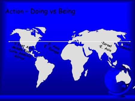 Action – Doing vs Being S.East Asia Middle East Latin America Africa E. Asia E. Europe Israel E. Asia USA Canada.