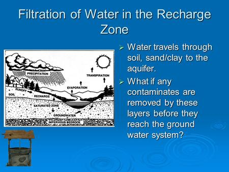 Filtration of Water in the Recharge Zone  Water travels through soil, sand/clay to the aquifer.  What if any contaminates are removed by these layers.