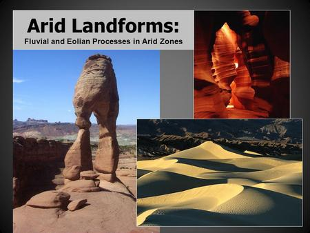 Arid Landforms: Fluvial and Eolian Processes in Arid Zones.