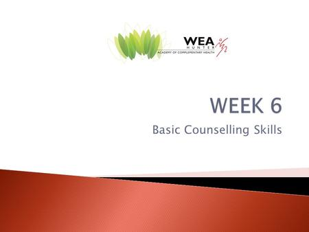Basic Counselling Skills.  Attending Behaviour  Closed and Open – ended Questions  Paraphrase  Summary  Reflection.