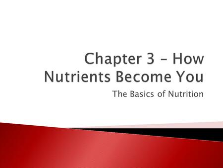 "The Basics of Nutrition.  ""You are what you eat""  Food is your body's fuel  Food is eaten ◦ It is broken down into simpler elements ◦ Energy is released."