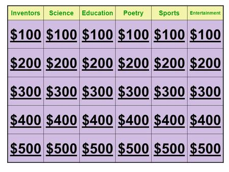 InventorsScienceEducationPoetrySports Entertainment $100 $200 $300 $400 $500.