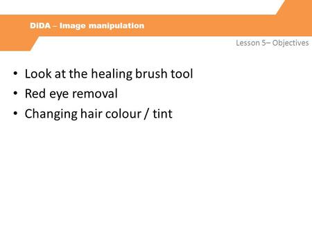 DiDA – Image manipulation Lesson 5– Objectives Look at the healing brush tool Red eye removal Changing hair colour / tint.