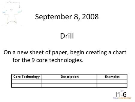 IOT POLY ENGINEERING I1-6 September 8, 2008 On a new sheet of paper, begin creating a chart for the 9 core technologies. Drill.