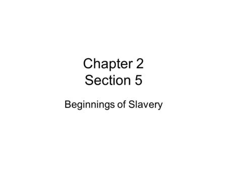 Chapter 2 Section 5 Beginnings of Slavery.