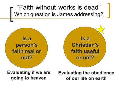 """Faith without works is dead"" Which question is James addressing? Is a person's faith real or not? Is a Christian's faith useful or not? Evaluating if."