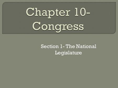 Section 1- The National Legislature.  We have a representative democracy— we do not literally make the laws (representatives handle the day to day tasks)