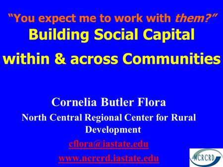 """You expect me to work with them?"" Building Social Capital within & across Communities Cornelia Butler Flora North Central Regional Center for Rural Development."