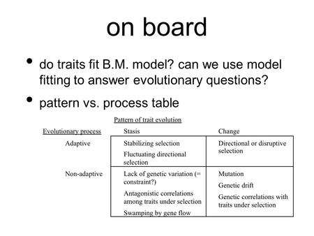 On board do traits fit B.M. model? can we use model fitting to answer evolutionary questions? pattern vs. process table.