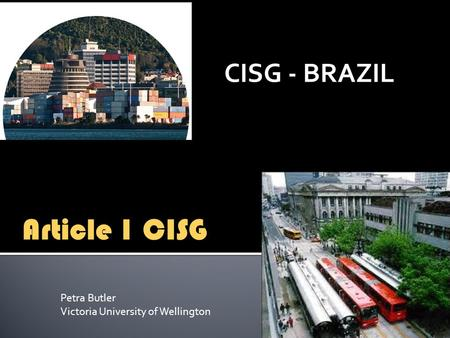 CISG - BRAZIL Article 1 CISG Petra Butler Victoria University of Wellington.