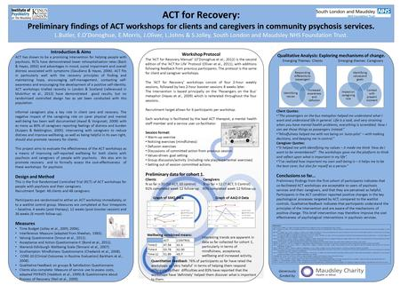 ACT for Recovery: Preliminary findings of ACT workshops for clients and caregivers in community psychosis services. L.Butler, E.O'Donoghue, E.Morris, J.Oliver,