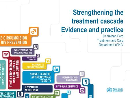 Excellent healthcare – locally delivered Strengthening the treatment cascade Evidence and practice Dr Nathan Ford Treatment and Care Department of HIV.