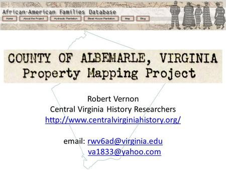 Robert Vernon Central Virginia History Researchers