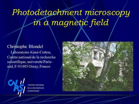 Photodetachment microscopy in a magnetic field Christophe Blondel Laboratoire Aimé-Cotton, Centre national de la recherche scientifique, université Paris-