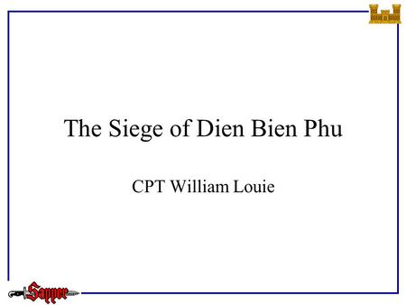 The Siege of Dien Bien Phu CPT William Louie. Outline References Geography Background Action Summary Questions.