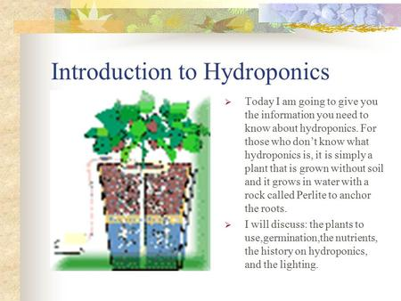 Introduction to Hydroponics  Today I am going to give you the information you need to know about hydroponics. For those who don't know what hydroponics.