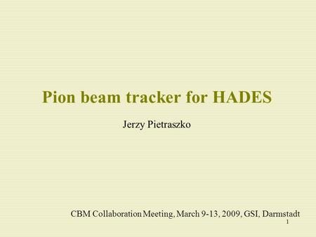1 Pion beam tracker for HADES Jerzy Pietraszko CBM Collaboration Meeting, March 9-13, 2009, GSI, Darmstadt.