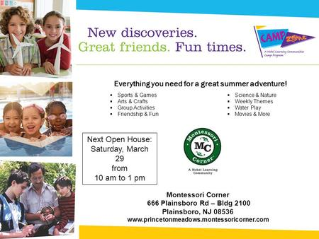 Everything you need for a great summer adventure!  Sports & Games  Arts & Crafts  Group Activities  Friendship & Fun  Science & Nature  Weekly Themes.