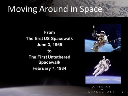 Moving Around in Space From The first US Spacewalk June 3, 1965 to The First Untethered Spacewalk February 7, 1984 5.