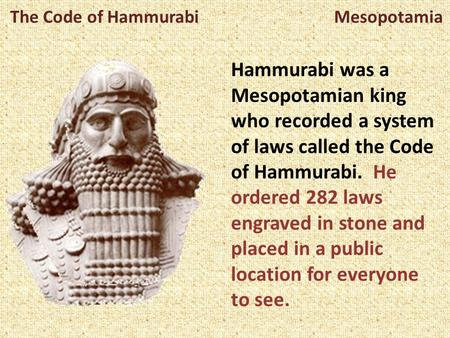 The Code of Hammurabi Mesopotamia