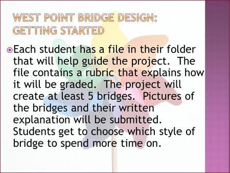  Each student has a file in their folder that will help guide the project. The file contains a rubric that explains how it will be graded. The project.