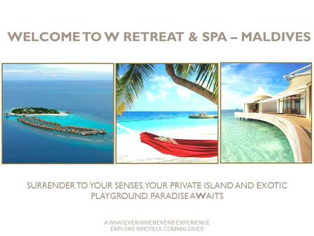 WELCOME TO W RETREAT & SPA – MALDIVES SURRENDER TO YOUR SENSES. YOUR PRIVATE ISLAND AND EXOTIC PLAYGROUND. PARADISE AWAITS A WHATEVER/WHENEVER® EXPERIENCE.