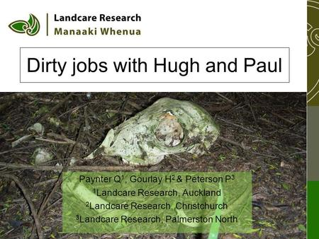 Dirty jobs with Hugh and Paul Paynter Q 1, Gourlay H 2 & Peterson P 3 1 Landcare Research, Auckland 2 Landcare Research, Christchurch 3 Landcare Research,