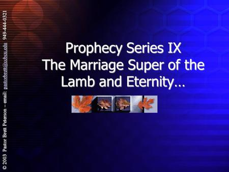 © 2003 Pastor Brett Peterson –   949-444-0321 Prophecy Series IX The Marriage Super of the Lamb and Eternity…