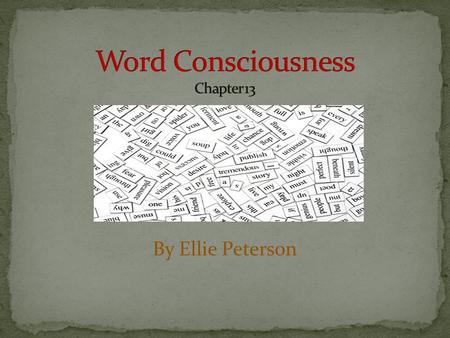 "By Ellie Peterson. ""Student who have developed word consciousness use words skillfully; they appreciate the subtleties of word meaning. More than that,"