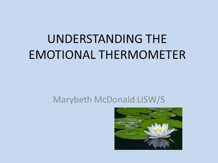 UNDERSTANDING THE EMOTIONAL THERMOMETER Marybeth McDonald LISW/S.