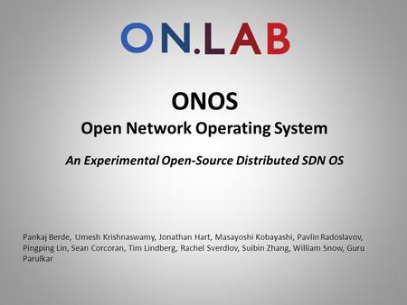 ONOS Open Network Operating System